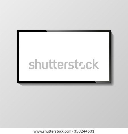 LCD or LED tv screen hanging on the wall. Display blank, technology digital, electronic equipment, mockup. Vector illustration - stock vector