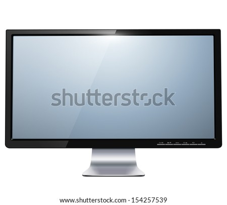 lcd tv monitor isolated, vector illustration. - stock vector