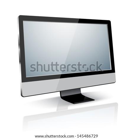 lcd tv monitor, vector illustration. - stock vector