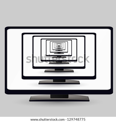 LCD TV monitor with a screen on the screen. Illustration on white background - stock vector