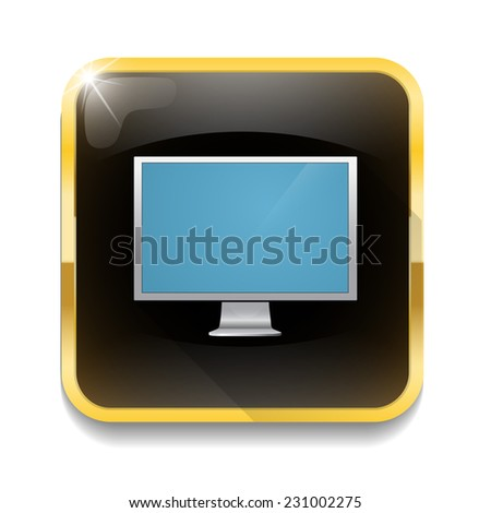 LCD TV monitor With long shadow over app button - stock vector