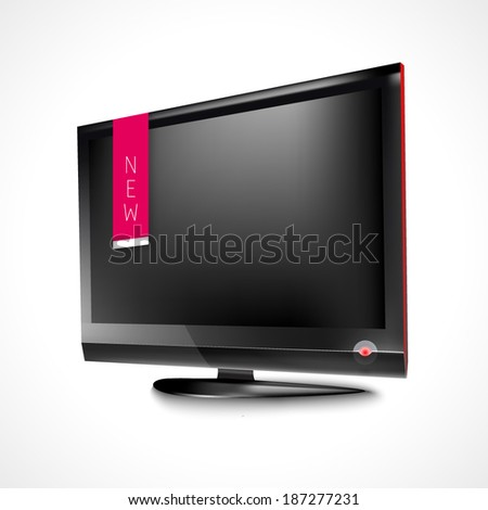 LCD TV realistic illustration / icon. TV background, new