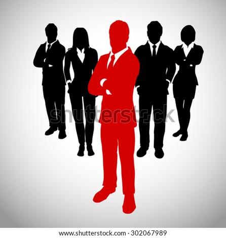 Leader before a Team of Successful executives. A team of Successful executives led by a successful and great leader. - stock vector