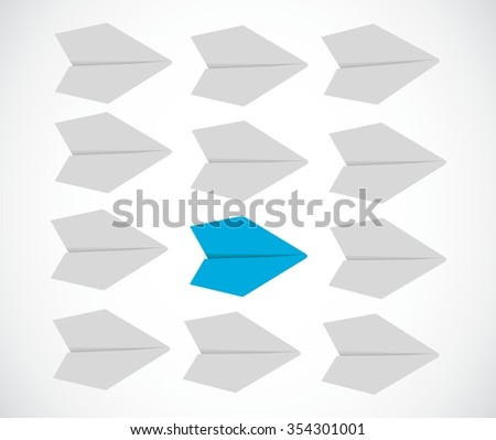leader following the pace of his team concept. paper airplanes illustration - stock vector