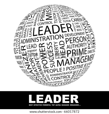 LEADER. Globe with different association terms. - stock vector