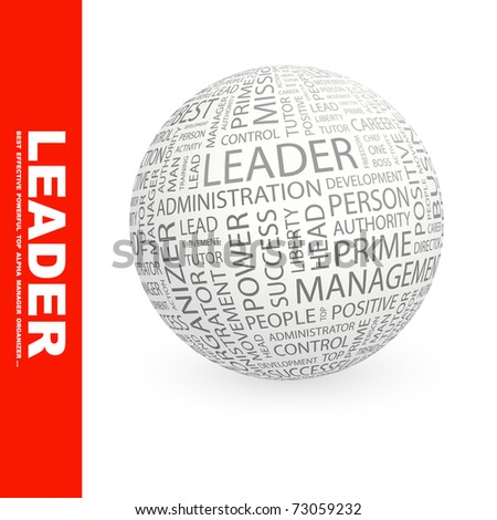 LEADER. Globe with different association terms. Wordcloud vector illustration. - stock vector