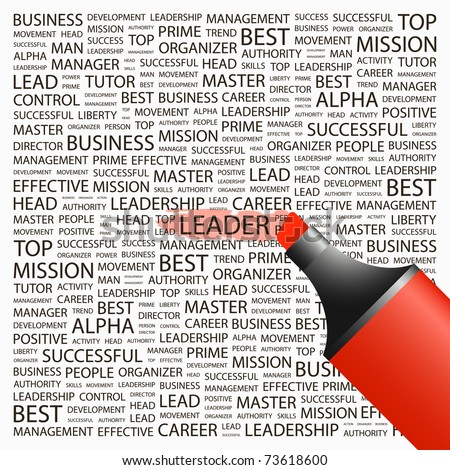 LEADER. Highlighter over background with different association terms. Vector illustration. - stock vector