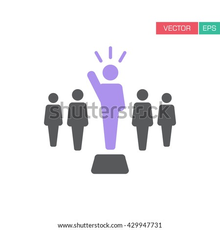 Leader Icon - Leadership, Boss, Teamwork, Union, Politician, Management Icon in Vector illustration.  - stock vector
