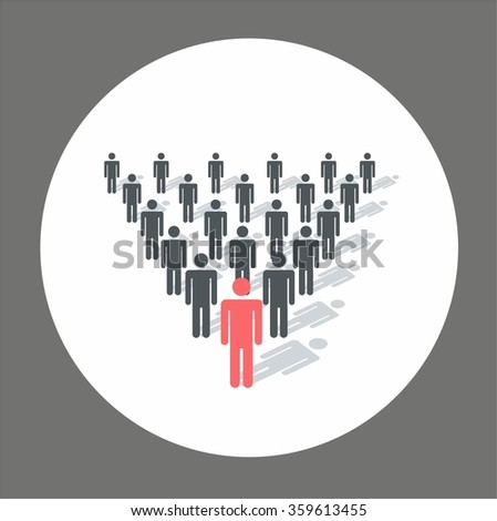 Leader in front of his team of executives. A team of executives led by a great and successful leader who stands in front of them. - stock vector