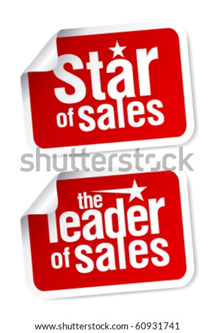 Leader of sales stickers set. - stock vector