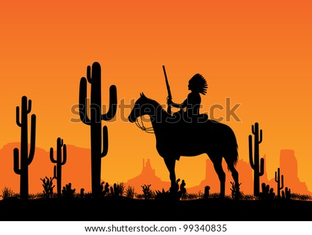 leader of the American Indian - stock vector