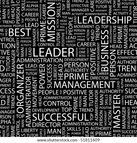 LEADER. Seamless vector pattern with word cloud. - stock vector