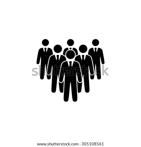Leader standing in front of corporate crowd. Black simple vector icon - stock vector