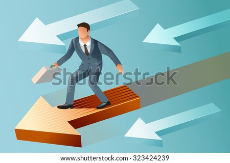 Leader standing on a moving arrow. Leadership of perfect man. The better business advantage. - stock vector