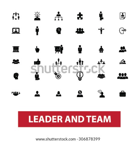 leader, team, leadership, management, human resources, organization, work, avatar, user concept isolated black icons, signs, illustrations on white background for web, application, internet - stock vector