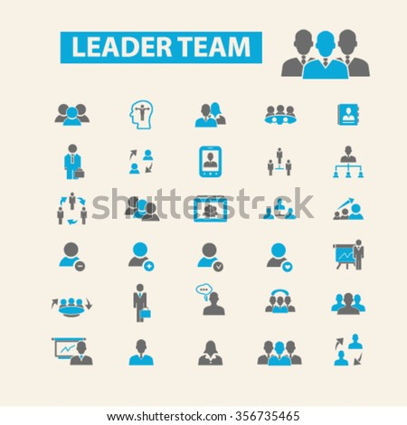 leader team, management, human resources, avatar, community  icons, signs vector concept set for infographics, mobile, website, application  - stock vector
