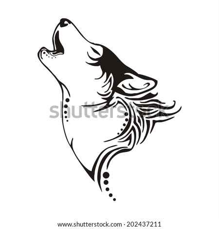 leader wolf bay tribal tattoo vector - stock vector