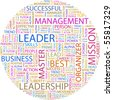 LEADER. Word collage on white background. Illustration with different association terms. - stock vector