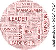 LEADER. Word collage on white background. Illustration with different association terms. - stock photo