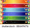 Leaderboard - 728 x 90 - Christmas Banner Set with Balls and Snowflakes for Google. - stock vector
