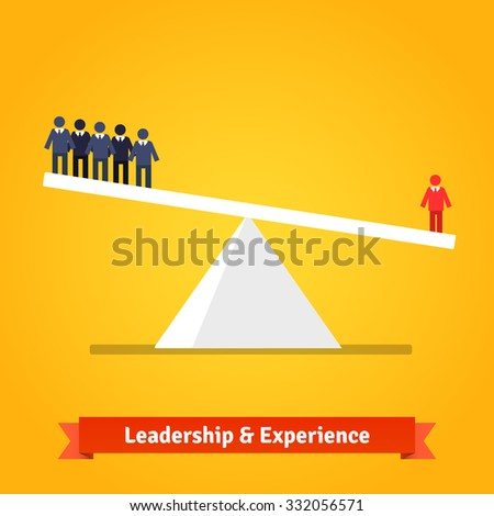 Leadership and experience of the one outweighs group of others. Flat style vector illustration isolated on white background. - stock vector