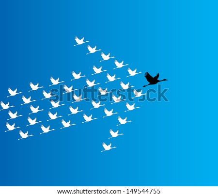 Leadership and Synergy Concept Illustration : A number of Swans flying against a deep blue sky background lead by a big dark leader swan - stock vector