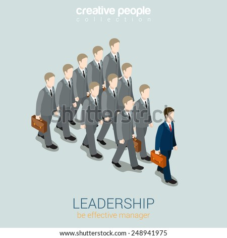 Leadership business concept flat 3d web isometric infographic vector. Dark blue businessman lead gray colleagues. Creative people collection. - stock vector