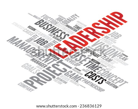 LEADERSHIP business concept in word tag cloud, vector background - stock vector