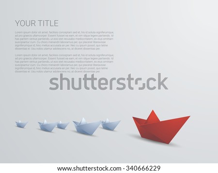 Leadership business concept vector with red paper boat leading white. Presentation template with space for text. Eps10 vector illustration. - stock vector