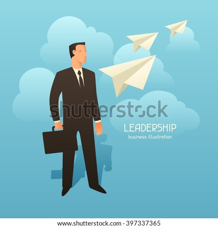 Leadership business conceptual illustration with businessman and paper planes. Image for web sites, articles, magazines. - stock vector