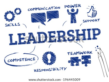 leadership concept . Chart with icons and Keywords  - stock vector