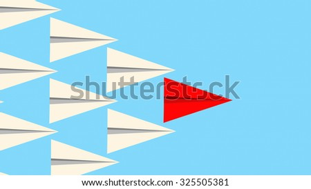Leadership concept illustration showing a red paper plane leading a group of white planes. - stock vector