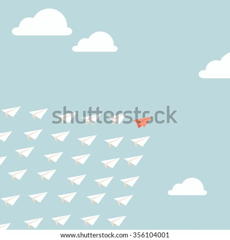 Leadership concept. One red  plane leads other white planes forward - stock vector