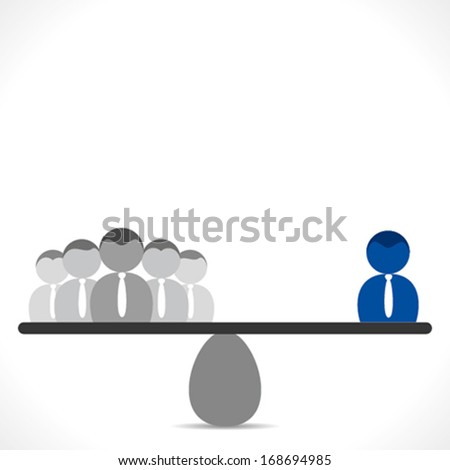 leadership concept or both have equal responsibility leader and team member background vector  - stock vector