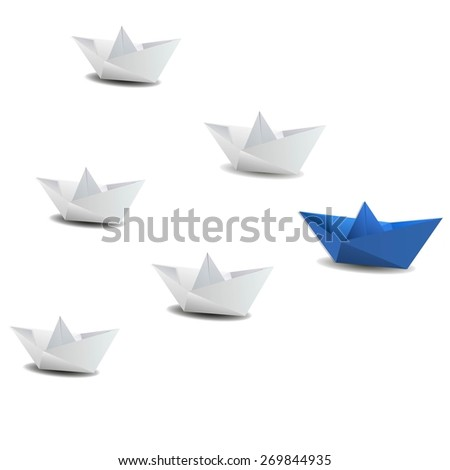 Leadership concept using blue paper ship among white - stock vector