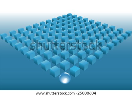 Leadership is the concept of an abstract: ball is the leader of team cubes in rows