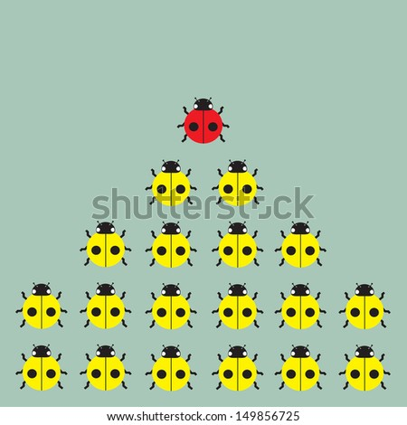 leadership of ladybug pattern - stock vector