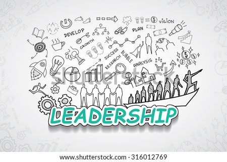 Leadership text, With creative drawing charts and graphs business success strategy plan idea, Inspiration concept modern design template workflow layout, diagram, step up options, Vector illustration - stock vector