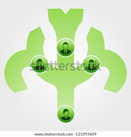 Leadership tree shows an organization and it's management - stock vector