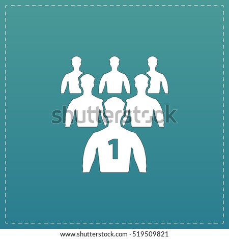 Leadership. White flat icon with black stroke on blue background