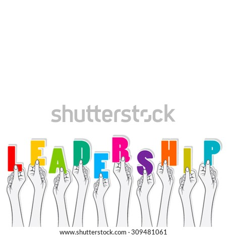 leadership word hold in hand concept design vector - stock vector