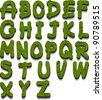 leaf alphabet font - stock vector
