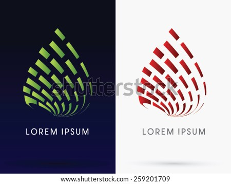 Leaf and fire, Abstract building, Architecture, logo, symbol, icon, graphic, vector. - stock vector