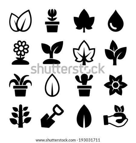 Leaf and Plants Icons Set - stock vector