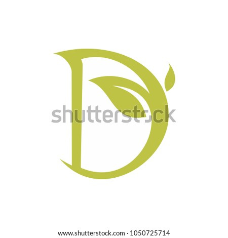 leaf script letter d stock vector royalty free 1050725714