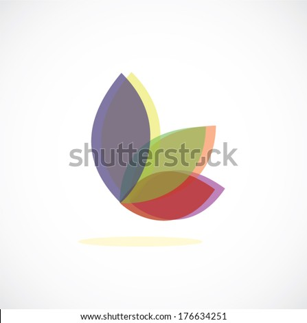 leaf butterfly icon vector - stock vector