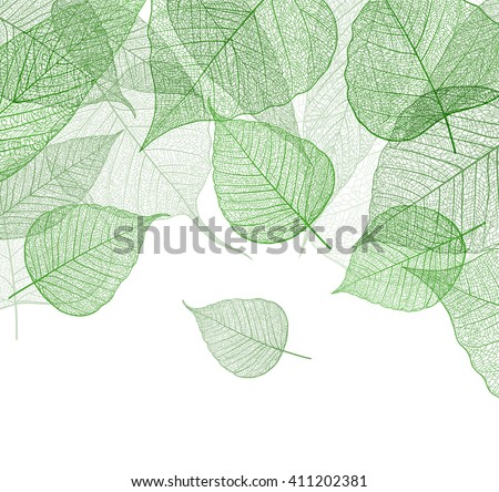 Leaf green background. Vector. - stock vector