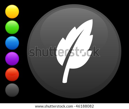 leaf icon on round internet button original vector illustration 6 color versions included - stock vector
