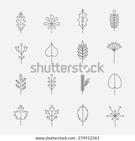 Leaf icon set - stock vector