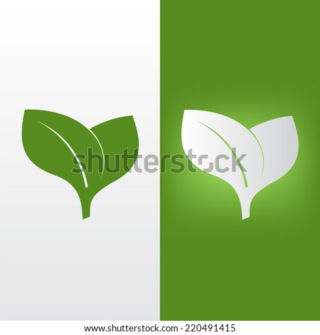Leaf icon vector on white and green background